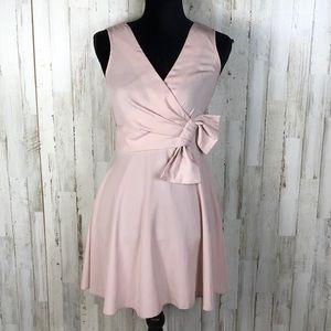 ASOS Sleeveless Blush Bow Front Skater Dress